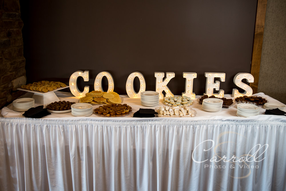 Great cookie display at wedding reception at The Vineyards at Pine Lake - Columbiana Wedding Photography by Youngstown Wedding Photographers Carroll Photo and Video