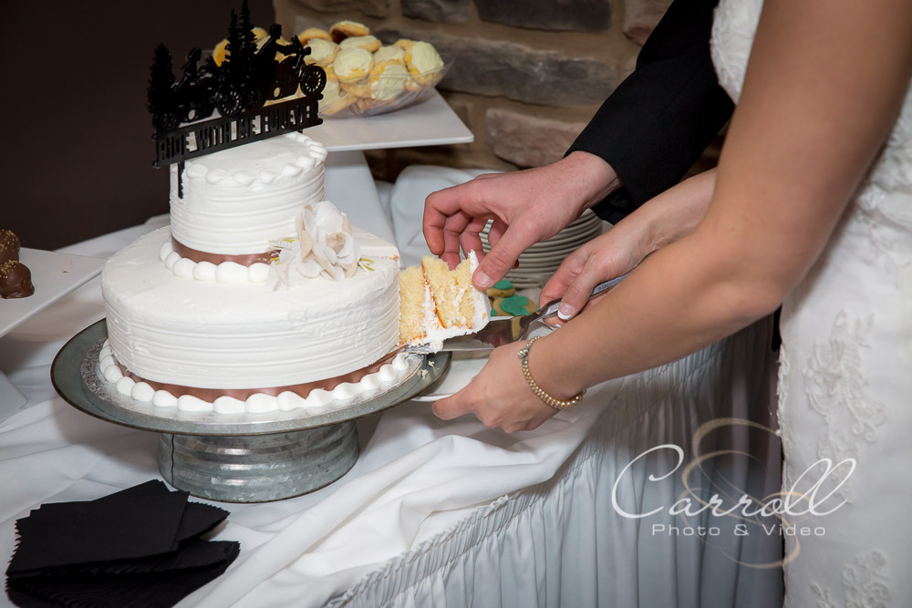 Bride and Groom cutting cake at wedding reception at The Vineyards at Pine Lake - Columbiana Wedding Photography by Youngstown Wedding Photographers Carroll Photo and Video